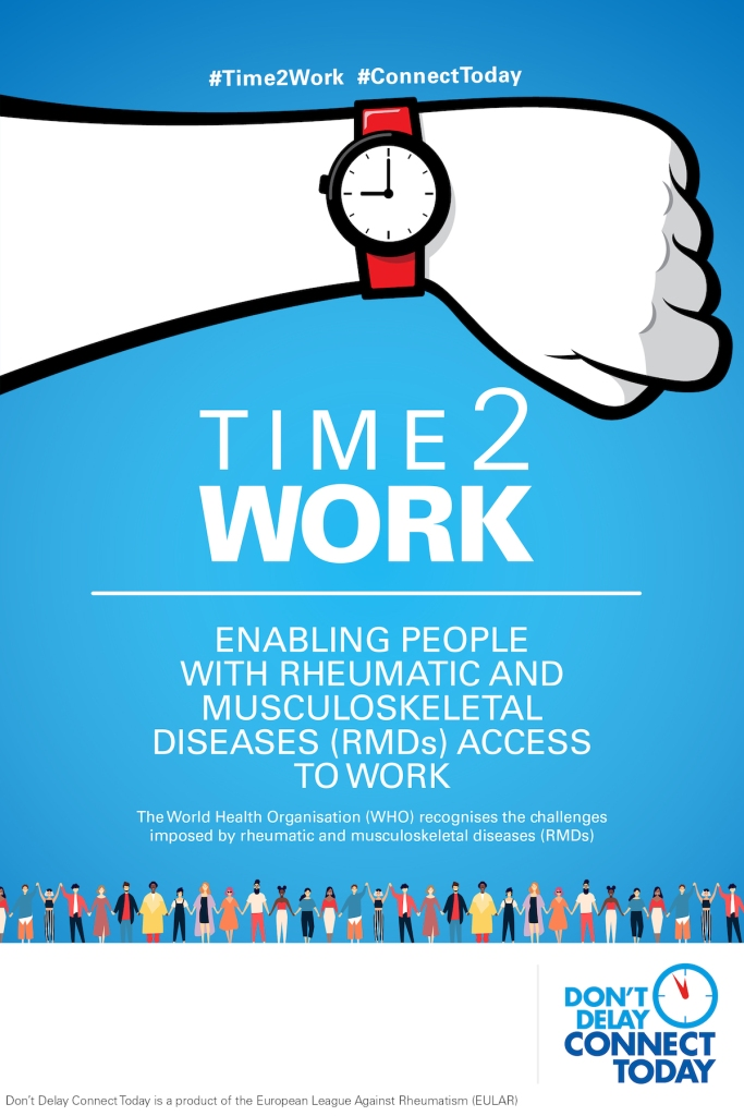 The official poster from the European League Against Rheumatism, showing a wristwatch on the left hand, titled 'Time2Work' - enabling people with rheumatic and musculoskeletal diseases (RMDs) access to work. The poster states that the World Health Organisation (WHO) recognises the challenges imposed by rheumatic and musculoskeletal diseases (RMDs). The campaign hashtags shown include #Time2Work and #ConnectToday.